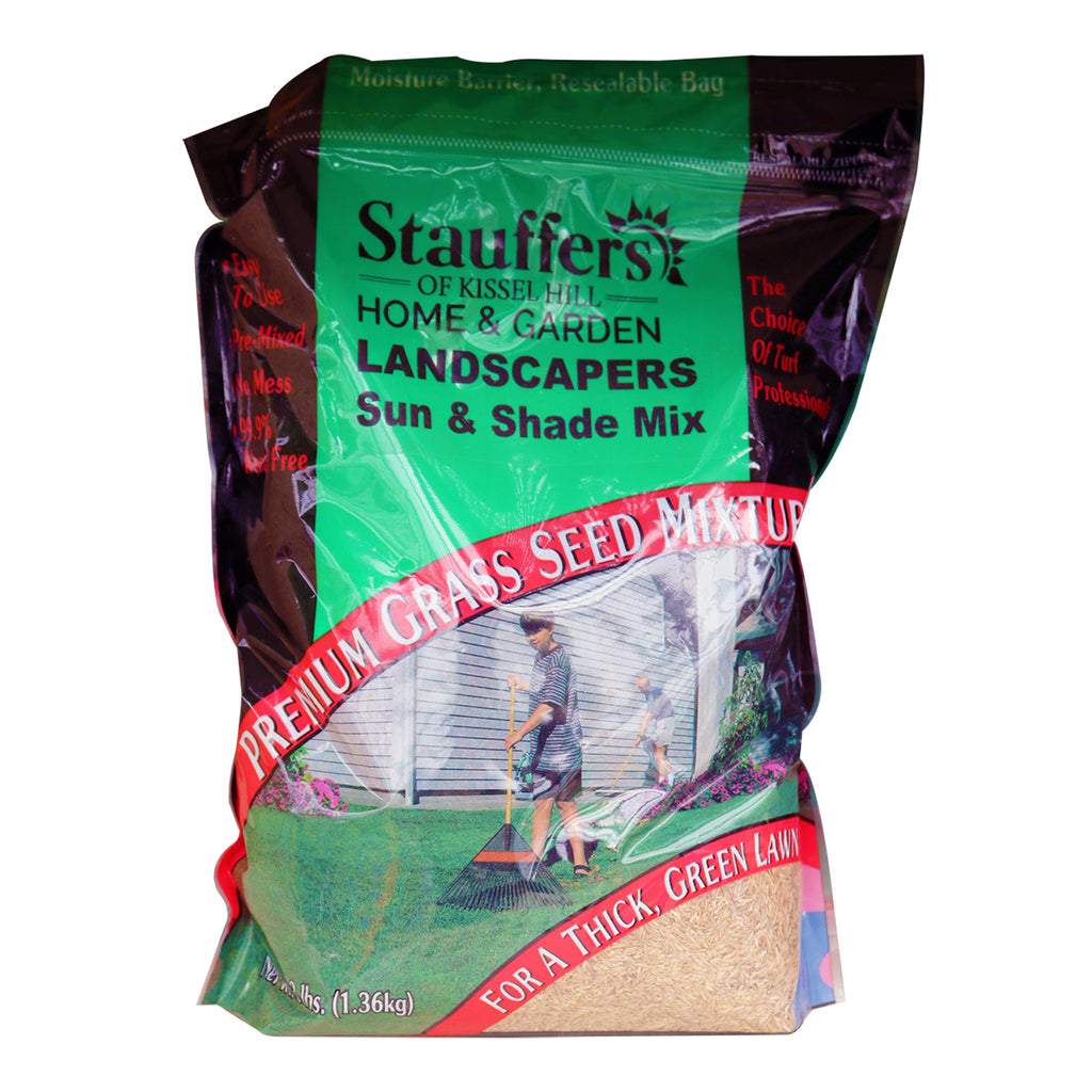 bag of Stauffers Sun & Shade Mix premium grass seed mix
