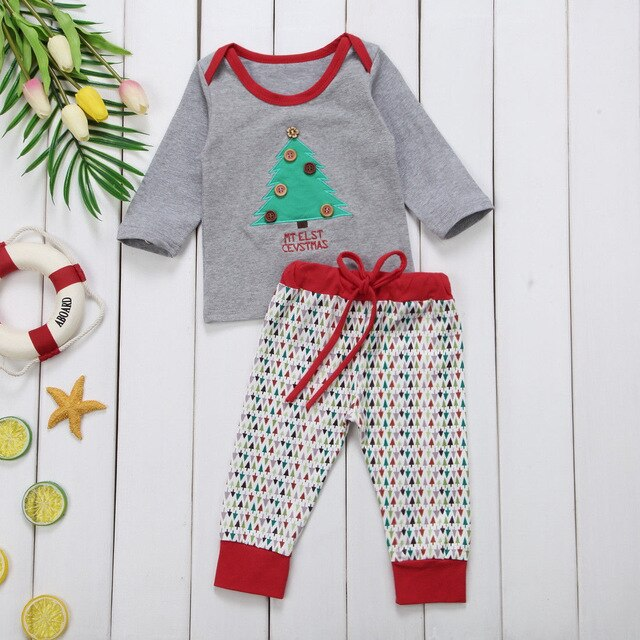 Christmas Tree Tshirt Tops Outfits Clothes Set Newborn Baby