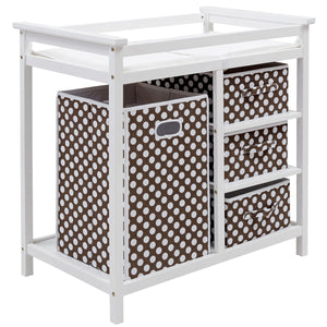 Infant Baby Changing Table w/3 Basket Hamper Diaper Storage