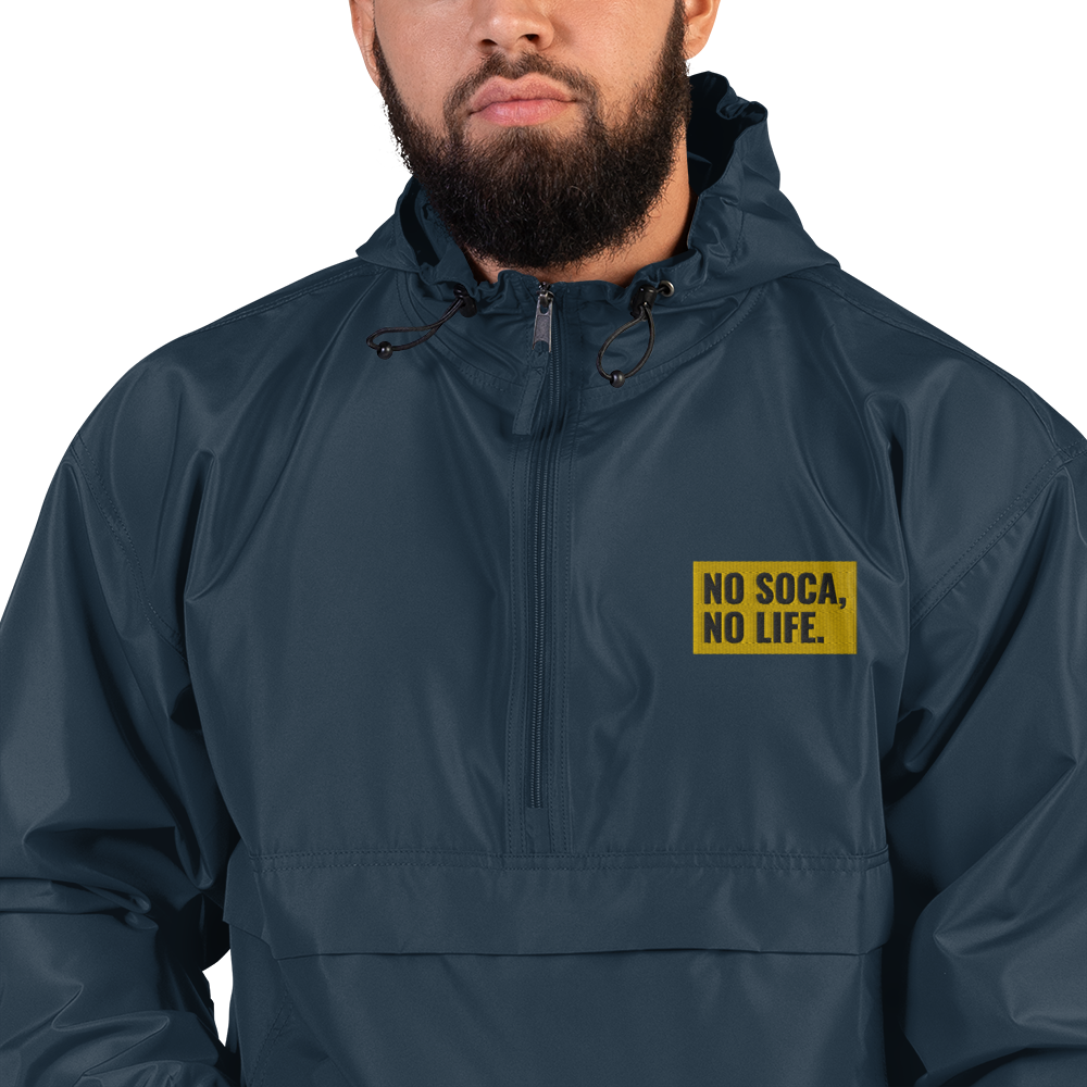 No Soca No Life Embroidered Champion Packable Jacket