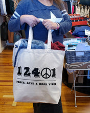 Load image into Gallery viewer, 12401 Peace Canvas Tote Bag - Large Natural