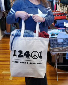 12401 Peace Canvas Tote Bag - Large Natural