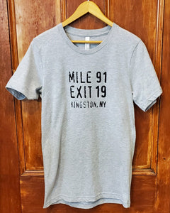 Mile 91 / Exit 19 Unisex T-Shirt - Gray
