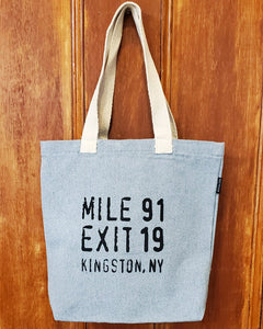Mile 91 / Exit 19 Tote Bag - Small Gray