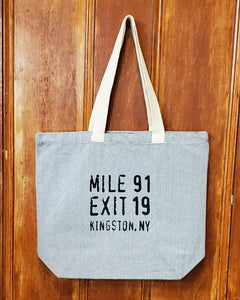 Mile 91 / Exit 19 Tote Bag - Large Gray