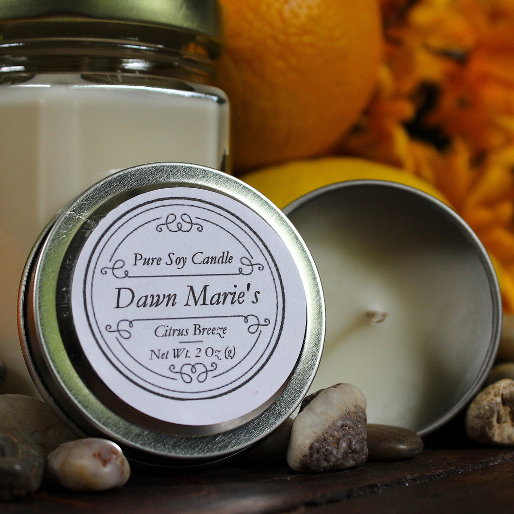 citrus breeze scent white candle natural soy wax essential oil dawn marie's candles