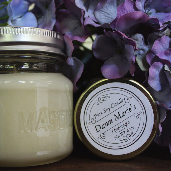 white hydrangea scent candle natural soy wax essential oil dawn marie's candles