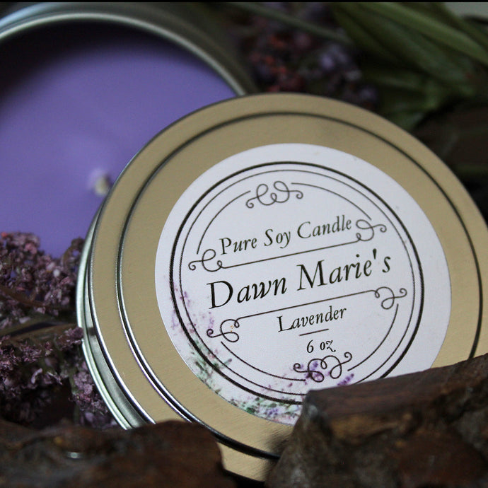 purple lavender candle natural soy wax essential oil dawn marie's candles