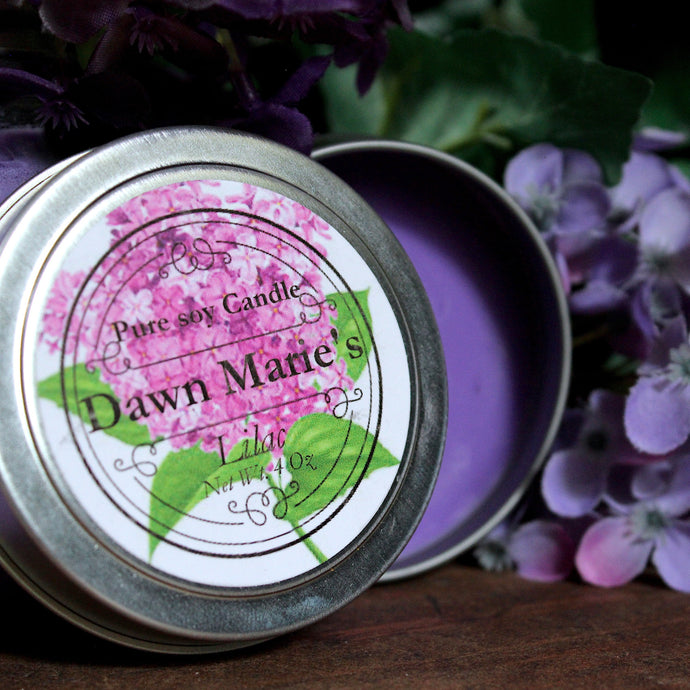 purple lilac candle natural soy wax essential oil dawn marie's candles