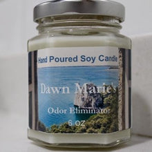 Load image into Gallery viewer, white odor eliminator candle natural soy wax essential oil dawn marie's candles