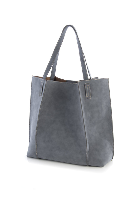 Steel Grey Vegan Suede Tote