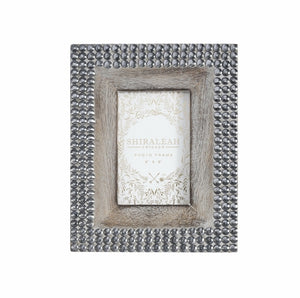 "Studded Mango Wood 4"" x 6"" PICTURE FRAME, GREY"