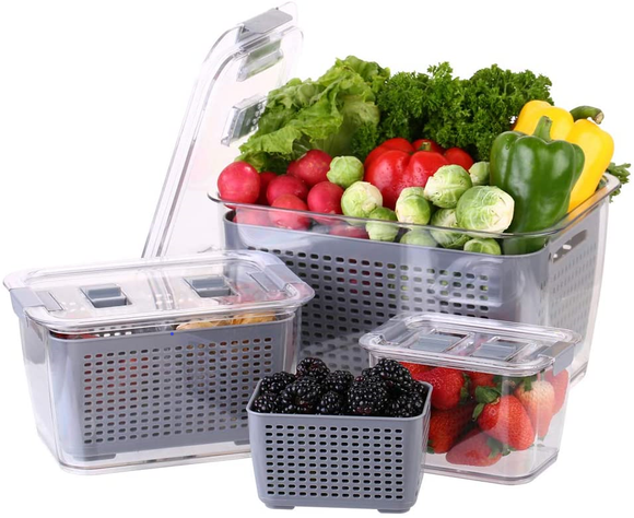 HOT Product! - Draining Food Storage Containers - ORGANIZE your Fridge & Keep Food Fresher!