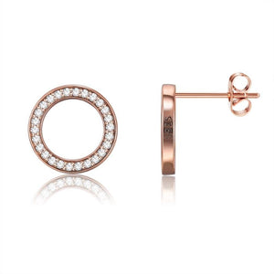 Pave Disc Stud Earring in Solid Sterling Silver with Swarovski Crystals