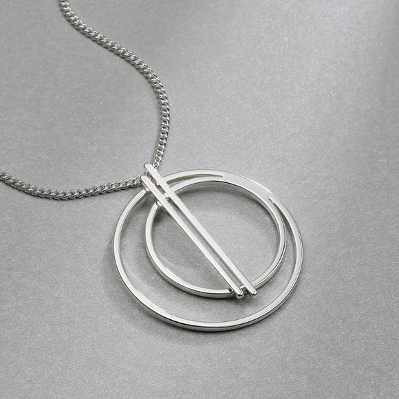 Triple Circle Necklace in 18K White Gold Filled