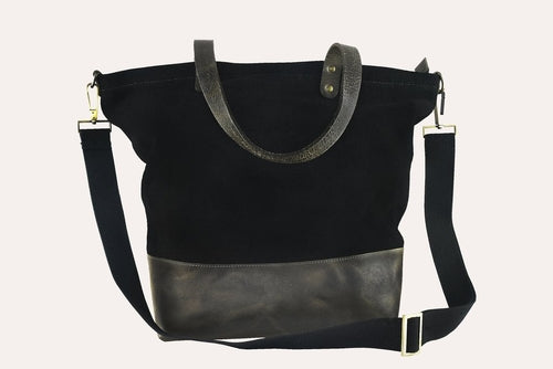 Leather & Canvas Boyfriend Tote Black or Olive