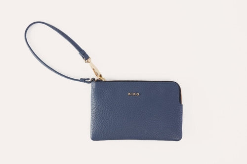 Small Leather Wristlet in Black, Red or Blue