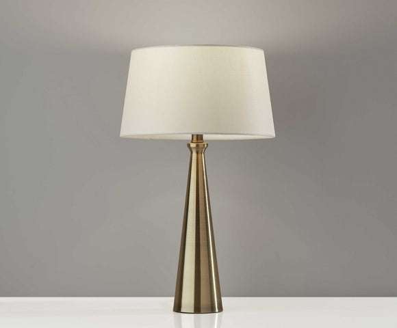 Brass Table Lamp with Antique White Shade