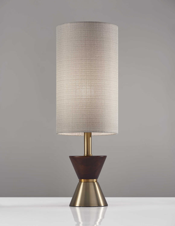 Brass & Wood Table Lamp