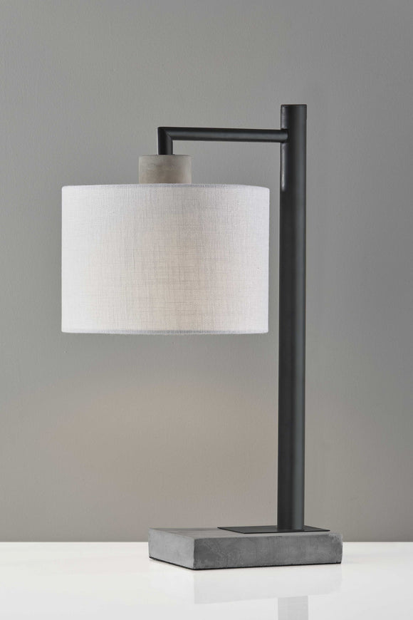 Concrete & Black Metal Table Lamp