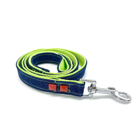 Navy denim & Neon dog leash with red studs
