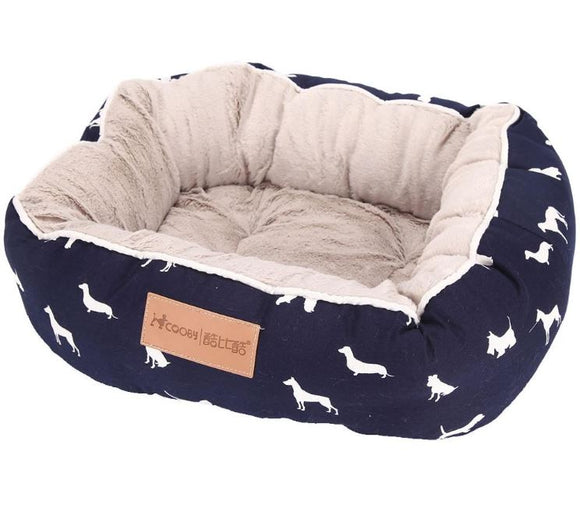 Cute Dog Print Bed - Navy or Grey