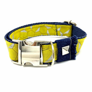 Honeycomb Frayed Denim Dog Collar