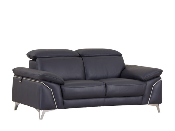 Modern Navy Leather Loveseat / Chair -FREE SHIPPING