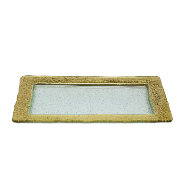 Rectangular Glass Tray With Gold Border