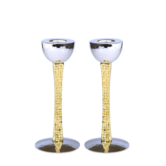 Set Of 2 Candle Holders - Gold/ Nickel