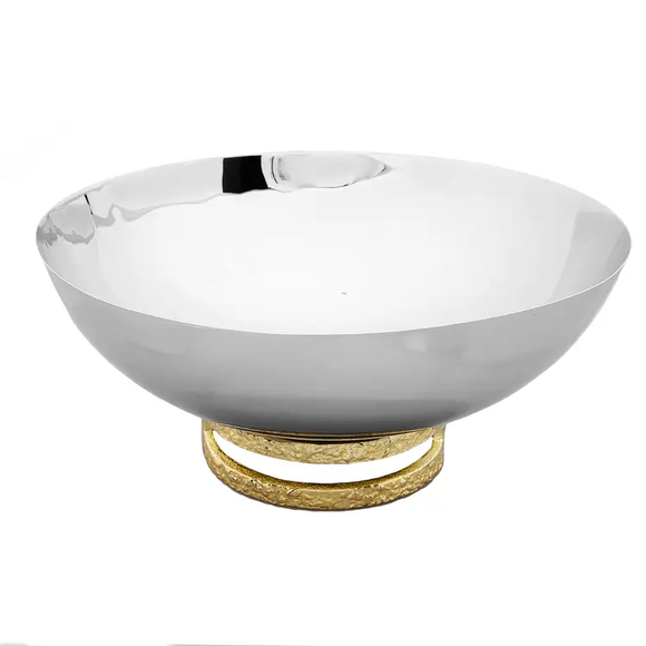 Stainless Steel Bowl with Gold Loop Base 11.5