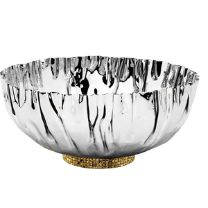 Stainless Steel Crumpled Bowl with Gold Mosaic Base