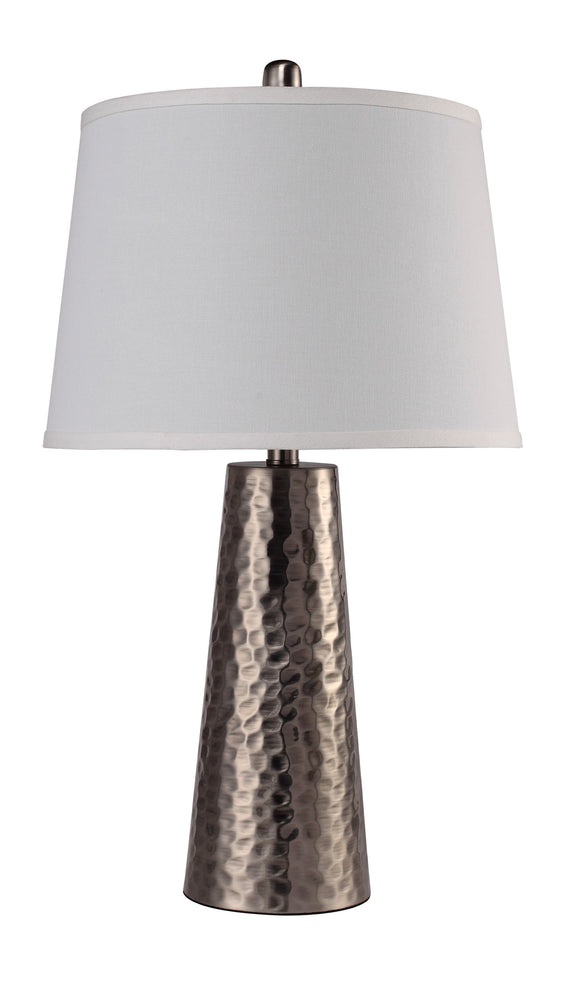 Textured Brass with White Drum Shade