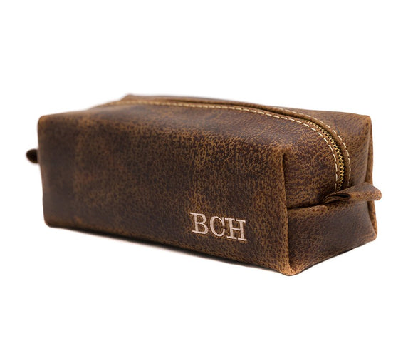 Leather Toiletry Bag - Personalize with up to 10 letters