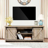 Grey TV Stand with Sliding Barn Door