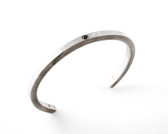 Sterling Silver Cuff Bracelet with Black Diamond Embedded Pulse