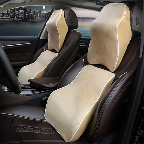 HOT Product! - Car Neck Rest & Lumbar Support - Memory Foam and Soft Cloth with Vegan Leather