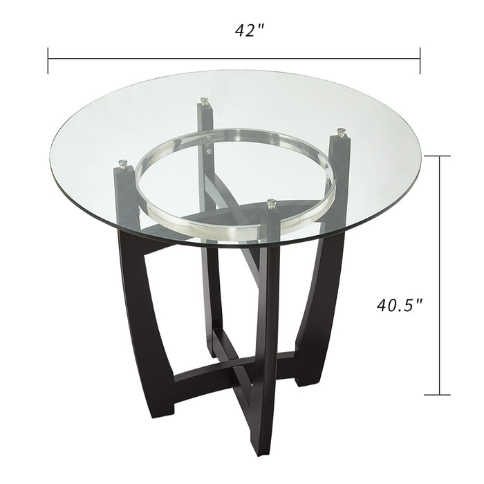 Dining Table With Tempered Glass Top and Solid Wood Base