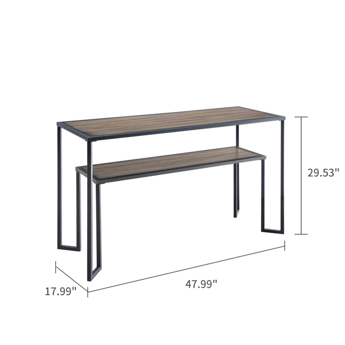 Industrial Console Table, Sofa Table for Entryway - Black+Brown