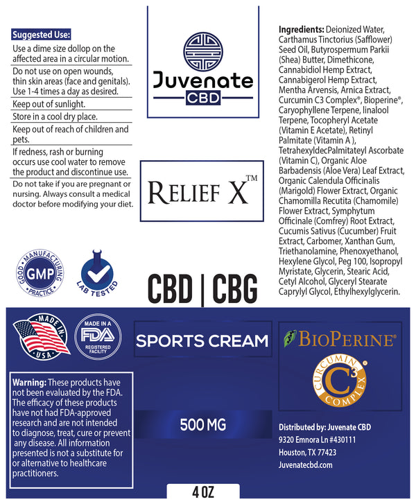 Juvenate CBD/CBG Sports Cream's label in Houston, Texas