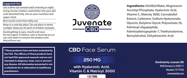 Juvenate CBD Face Serum's label in Houston, Texas
