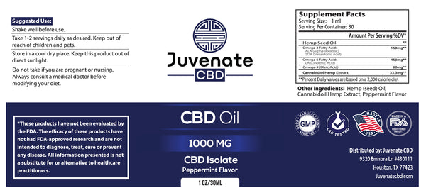 Juvenate CBD Oil Tincture's label in Houston, Texas