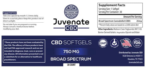 Juvenate CBD Softgels Broad Spectrum's label in Houston, Texas