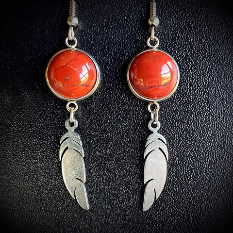 Genuine Red Jasper Feather Dangles