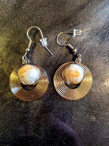 Crazy Lace Agate Hypoallergenic Stainless Dangles