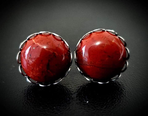 Red Jasper Crown Studs