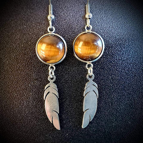Tigers Eye Feather Dangles