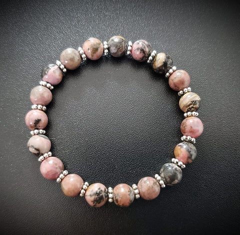 Striped Pink & Black Rhodonite Bracelet