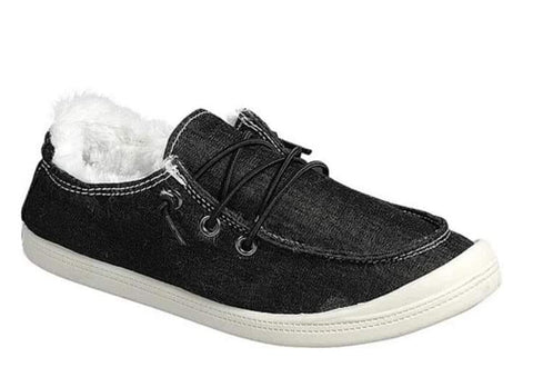 Forever Black Canvas Lined Sneaks