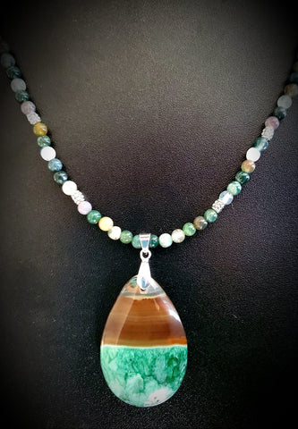 Onyx Druzy Geode and Genuine Fancy Jasper Bead Necklace